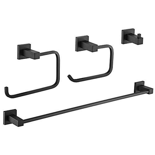 Gricol Juego de Accesorios de Baño de 4 piezas Soporte para Toallas Soporte para Papel Higiénico y Gancho Accesorios de Pared para Baño Negro