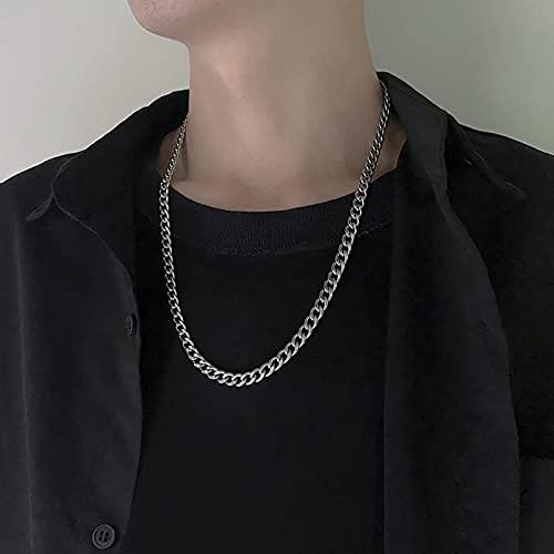 SONGK Collares de Cadena de Acero Inoxidable para Mujeres, Hombres, Collar Largo de Hip Hop en el Cuello, Accesorios de joyería de Moda, Regalos para Amigos