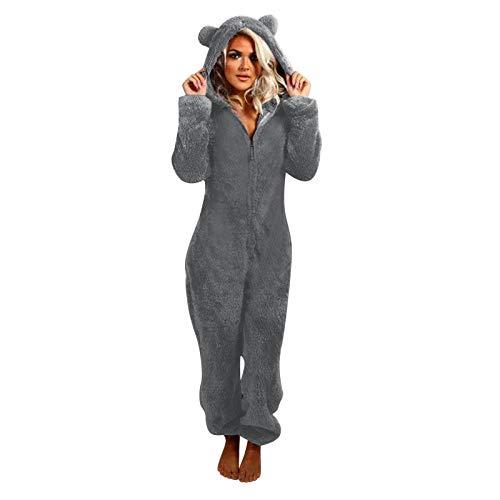 Piasnhaoah4 Damen Jumpsuit Teddy Fleece Zip Jumpsuit mit Kapuze Fluffy Warm Jumpsuit Pyjamas Ganzkörperanzug Freizeitanzug,Winter Warm Cosy Cat Ear Pyjamas Jumpsuits Ganzkörperanzug mit Kapuze