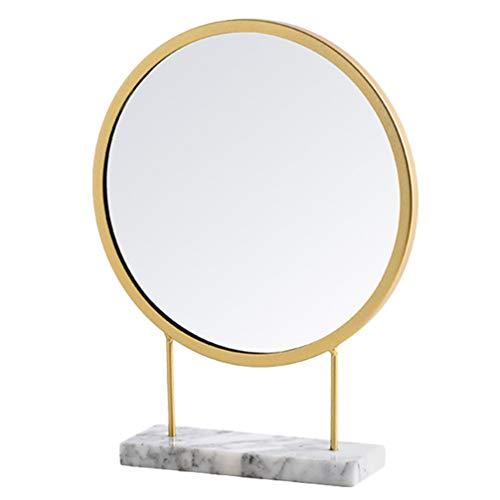 BESPORTBLE Kosmetikspiegel Make-Up Dekor Runde Vintage Tischspiegel Golden Metall Gerahmt Kleinen Stehspiegel für Büro Schlafzimmer Badezimmer Wohnzimmer