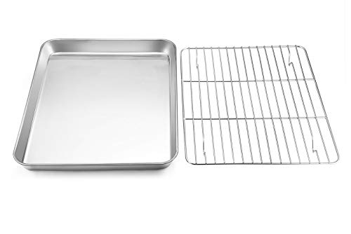 Toaster Oven Tray with Rack Set, E-far Pure Stainless Steel Small Baking Pan Cookie Sheet with Cooling Rack, 10.5 x 8 x 1 inch Rimmed Rectangle Size, Non Toxic & Rust Free – Dishwasher Safe