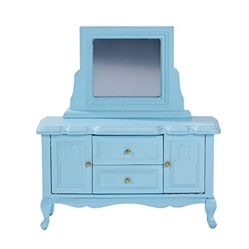 Ruby569y Puppenhaus-Zubehör für Heimwerker, Mini-Schrank, hohe Simulation, Dekoration, Holz, Maßstab 1:12, Mini-Schminktisch für Puppenhaus, Blau