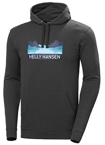 Helly Hansen Nord Graphic Hoodie- 62975 - Sudadera con Capucha para Hombre, Hombre, 62975, Gris Oscuro, Extra-Large, ébano