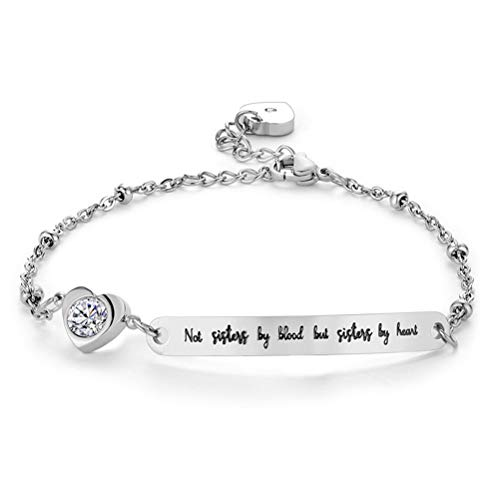 Best Friend Bracelets Not Sisters by Blood But Sisters by Heart Soul Sister Bracelet Inspirational Jewelry Mantra Cuff Bangle Gift for Woman Sisters (Silver)