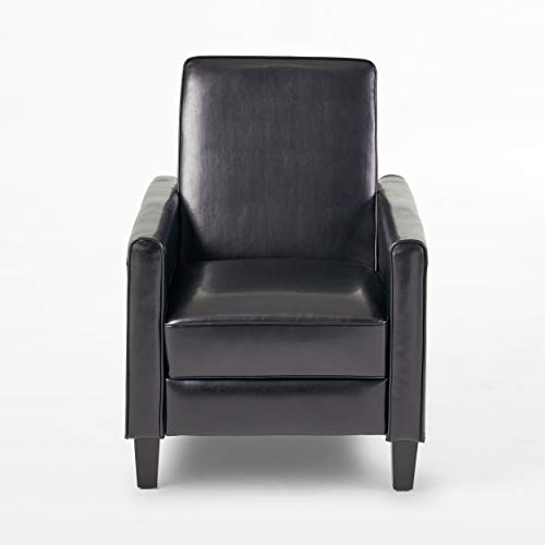 Christopher Knight Home Darvis Leather Recliner Club Chair, Black