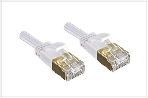 DINIC Cat.6 platte patchkabel bij uitstek geschikt voor Gigabit Ethernet, platte LAN-kabel 5m wit