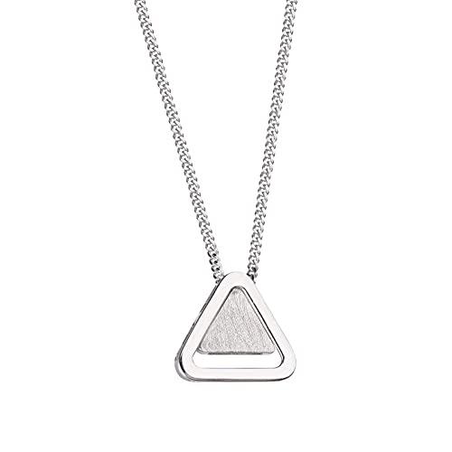 WJWAINI 925 Colgante De Plata Esterlina Simple Triángulo Collar De Clavícula Crystal Zirconia 925 Collar Colgante De Plata Esterlina Adecuado para Hombres Y Mujeres Moda Simple Cumpleaños