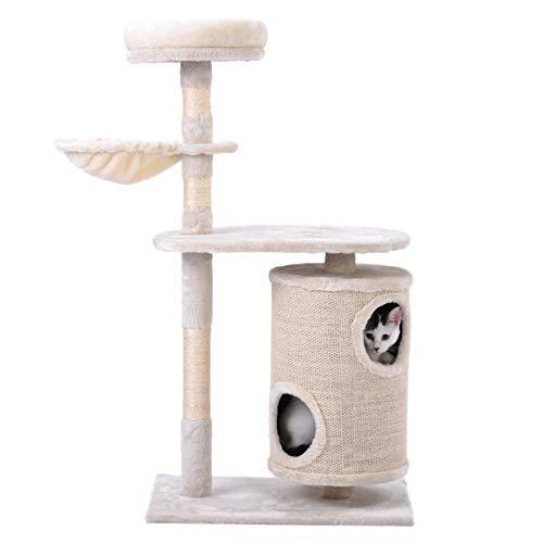 belupai Árbol para gatos con barril para rascar, árbol para gatos cilíndrico, centro de actividad para gatos (beige)