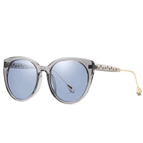 LG Snow Gafas De Sol Polarizadas for Mujer Moda Gris Transparente Borde Grande Gafas UV400 Estrellas De Protección Gafas Decorativas Patas Lentes Azules
