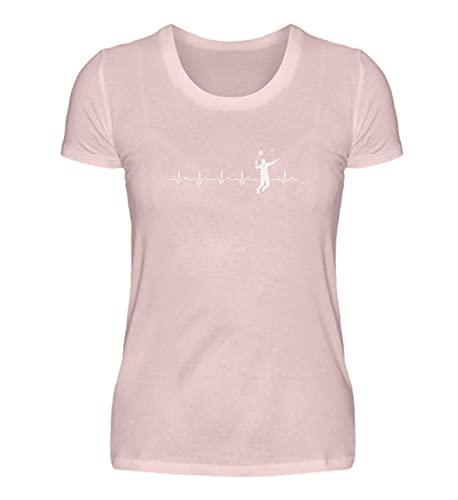 shirt-o-magic Badminton: Herz schlägt für Badminton - Damen Premiumshirt -XXL-Puder Rosa