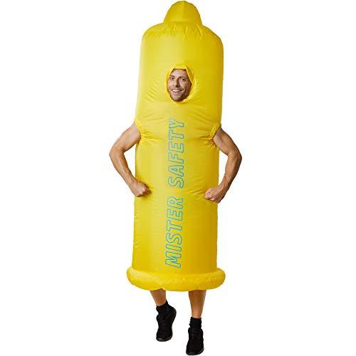 dressforfun 302362 - Costume Unisex Adulti Costume Gonfiabile - Preservativo, Abito con Scritta Mister Safety