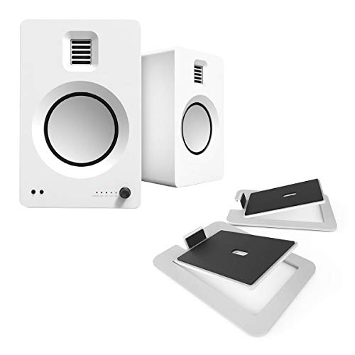 Kanto TUK Premium Powered Speakers - Pair with S6 Desktop Speaker Stands (White)