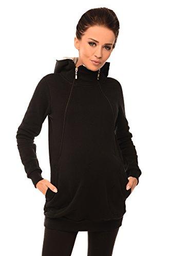Purpless Maternity 2in1 Grossesse Allaitement Femmes Sweat-Shirt à Capuche en Haut avec Poches 9052 (38, Black)
