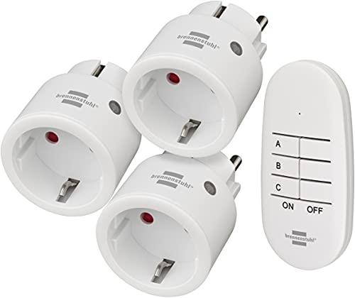 Brennenstuhl Comfort-Line Funksteckdosen-Set Mini 3+1, 3er Funkschalt-Set (Innenbereich, mit Handsender und erhöhtem Berührungsschutz) weiß