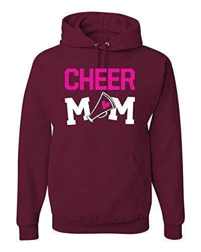 Cheer Mom Kids Super-Fan Love Pink Heart | Mens Sports Hooded Sweatshirt Graphic Hoodie, Maroon, Large