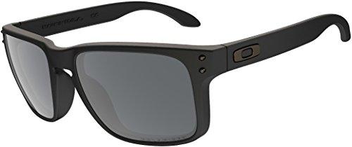 Oakley Holbrook Gafas de sol (talla única, lentes polarizadas con montura negra y efecto espejo)