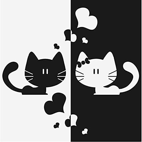 Etiqueta de la pared de vinilo extraíble gato negro + blanco amor arte cocina niños dormitorio papel tapiz impermeable 56x57 cm