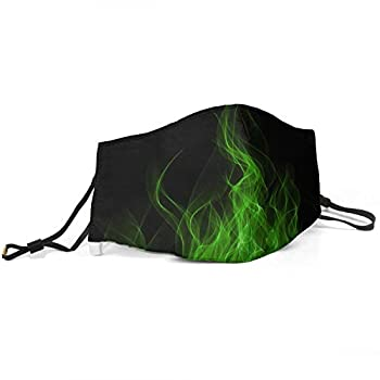 Mens Womens Girls Boys Cool Scarf Anti Dust Nose Face Mask Green Flames Wallpaper Fire Mouth Cover