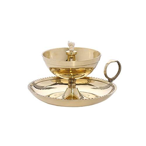 NKlaus Ghee lámpara de Aceite con Mecha Hecha a Mano latón casa jardín Oro Grande Nuevo 1578