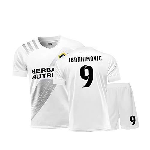 Ibrahimovic 9# Galaxy Fußballtrikot, 20-21 Retro T-Shirt und Shorts, Fans Sweatshirt für Männer Teenager Erwachsene Trainingsuniform, Tolles Material-White-XL