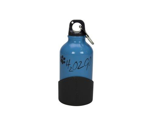 Kapimex 78110040 H2O2GO Aluminium Trinkflasche für Hunde, 350 ml, sky blau