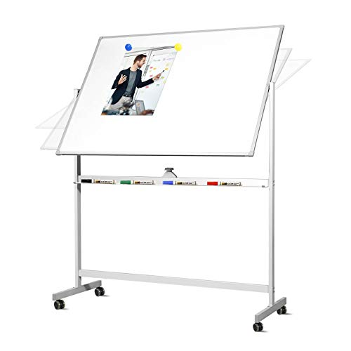 Welmors Office Mobile Whiteboard with Stand, 48x 36 Inch Double Sized Writing Dry Erase Board, Magnetic Large Board for Office, Classroom or Homeschool (48x36 Mobile)