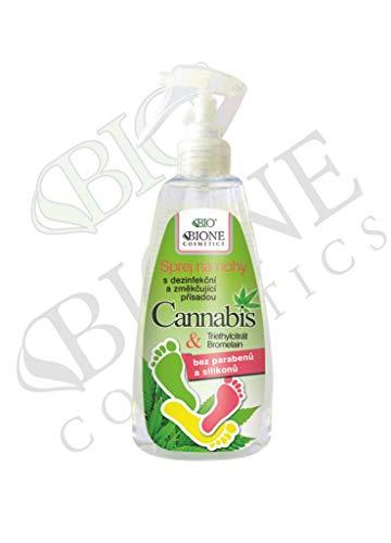 Bione 100% Bio-Vegan Fußspray gegen Fußpilz & Fußgeruch mit Cannabis & Bromelain & Triethycitrat ohne Mineralöl, Silikone, Parabene, Sulfate - 260 ml
