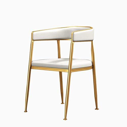 Relax-Liegestuhl Esszimmerstuhl Metallbeine PU Sitz gepolsterte Auflage Zeitgenössischer Designer for Office Lounge Dining Kitchen Camping (Color : White)