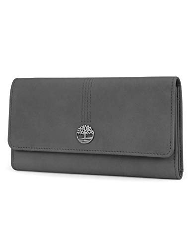 Timberland Women's Leather RFID Flap Wallet Clutch Organizer, Castlerock (Nubuck), One Size