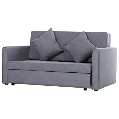HOMCOM Two Seater Fabric Sofa Bed with Storage furniture for Livingroom Furniture Grey
