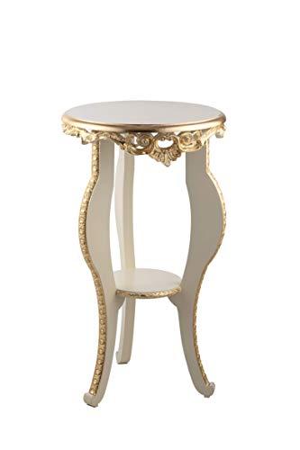 ITALUX MORE LIGHT Tavolino Barocco Moderno Avorio Decorato in Foglia Oro