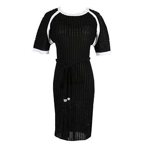 Thumby vrouwen coltrui korte mouw slanke taille medium lange riem gebreide jurk, zwart, s