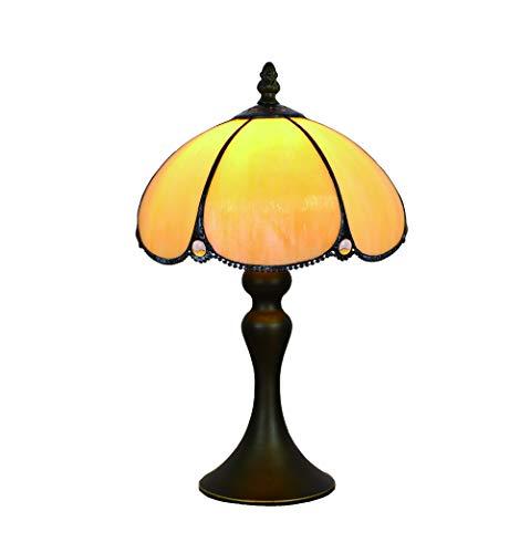 Tokira 8-inch Tiffany Stijl Tafellamp, Europees Geschilderd Nachtlampje, Gele Tafellamp Woonkamer Slaapkamer Nachtkastje, Ijzeren Voet LED-lamp