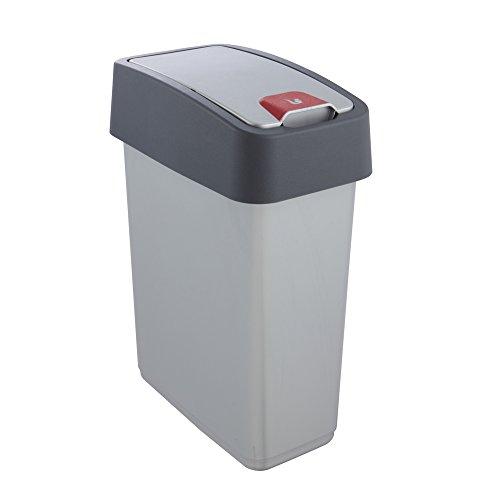 keeeper Premium Abfallbehälter mit Flip-Deckel, Soft Touch, 10 l, Magne, Silber