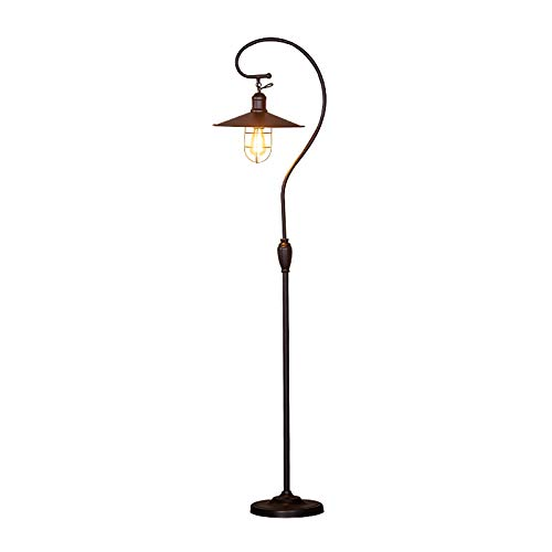 Industrial Floor Lamp, With Adjustable Cage Shade, 62 Inches Rustic Floor Lamp, Lantern Standing Lamp For Living Room, Bedroom, Office