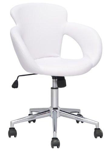 SixBros. Design Taburete Giratorio Silla de Oficina Blanco - M-65335-1/725