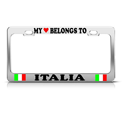 Metal Auto License Plate Frame Car Tag Holder My Heart Belongs To A Italia Italian Flag Chrome Metal License Plate Frame Perfect For Men Women Car Garadge Decor
