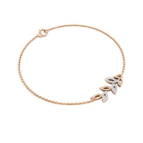Custom 0.11 CT Diamond Charm Bracelet for Women, Antique Petal Stacking Bracelet, Gold Chain Adjustable Bracelets, Birthday Anniversary Bracelet Gifts, 14K Rose Gold 6.5 Inches