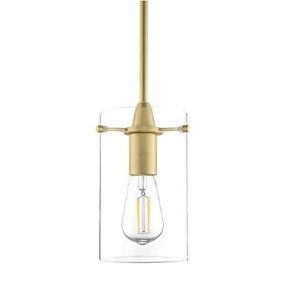 Pendant Lighting for Kitchen Island Decor - Modern Clear Glass Gold Pendant Light Fixture - Medium Lamp Shade