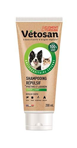 CLÉMENT THÉKAN VÉTOSAN Shampooing répulsif pour chien et chat - Actifs 100% d'origine végétale - Anti-puces et anti-tiques – 200mL