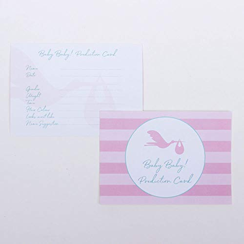 Luck and Luck Lot de 6 Cartes de prédiction pour bébé Cigogne Rose