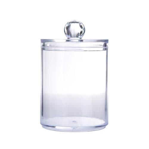 HermosaUKnight Caja de Almacenamiento de hojaldre de algodón Transparente Cuadrado Redondo hisopo de algodón de Escritorio a Prueba de Polvo