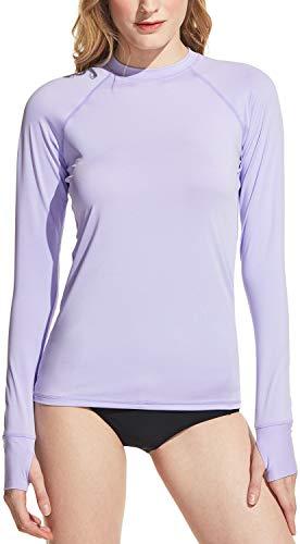 TSLA Women's UPF 50+ Rash Guard Long Sleeve, UV/Sun Protection Swim Shirts, Water Beach Surf Swim Top, Finger Hole(fsr40) - Lavender, X-Large