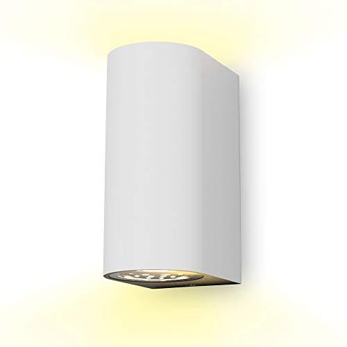 B.K.Licht I LED Wandleuchte I Außenwandleuchte I inkl. 2x 5W GU10 Leuchtmittel I warmweiße Lichtfarbe I 800 Lumen I Außenleuchte I Außenlampe I Wandspot für Innen und Außen I weiß I IP44