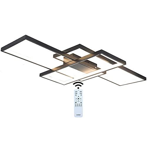 J.SUNUN Lámpara de Techo LED Regulable Moderna lámpara de salón 65W 5200LM lámpara de Pared geométrica araña Multifuncional con Control Remoto para Sala de Estar,Dormitorio,Oficina,balcón, 90×50×9CM