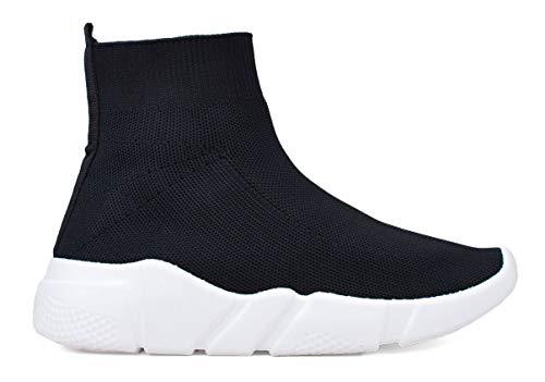 BOSANOVA Zapatillas Tipo calcetín Negras para Mujer | Sin Cierre