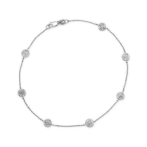 Ross-Simons 0.25 ct. t.w. Pave Diamond Station Anklet in 14kt White Gold For Women 9 Inch