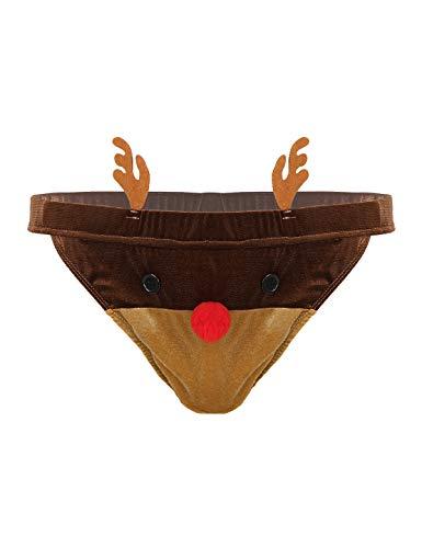 Yeahdor Männer Lustige Strings Tanga Weihnachten Slip Herren Rentier Kostüm Samt Unterhose T-Back Sexy Unterwäsche Weihnachtskostüm Braun X-Large
