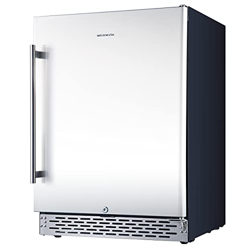 Phiestina 24 Inch Beer Froster Beverage Cooler Refrigerator - 175 Can Built-in or Free Standing Beverage Fridge with Stainless Steel Door for Soda Beer or Wine - Drink Fridge For Home Bar or Office