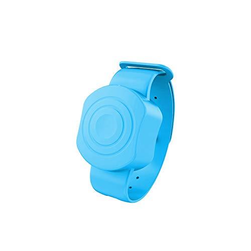 MARIJEE Dispensador de líquido de jabón de mano con botella de apretón, desinfectante de manos dispensador de pulsera para el hogar, viajes, pulsera portátil dispensador de mano (azul)
